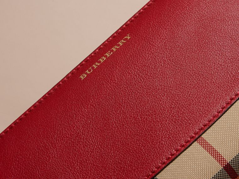 Horseferry Check and Leather Ziparound Wallet in Parade Red - Women | Burberry Canada - cell image 1