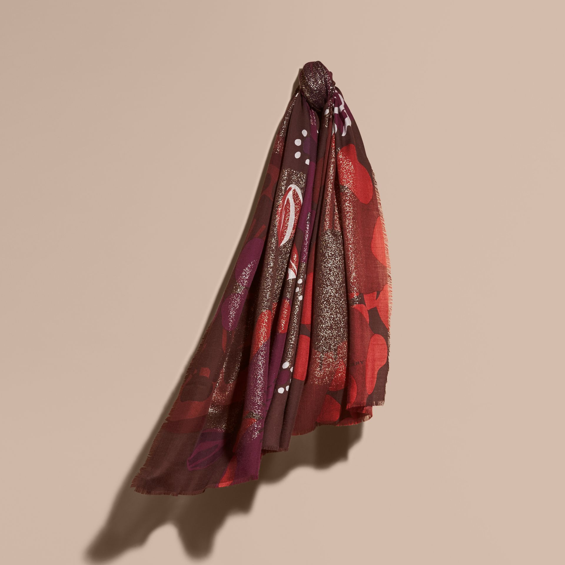 Deep burgundy Floral and Gold Foil Lightweight Cashmere Scarf Deep Burgundy - gallery image 1