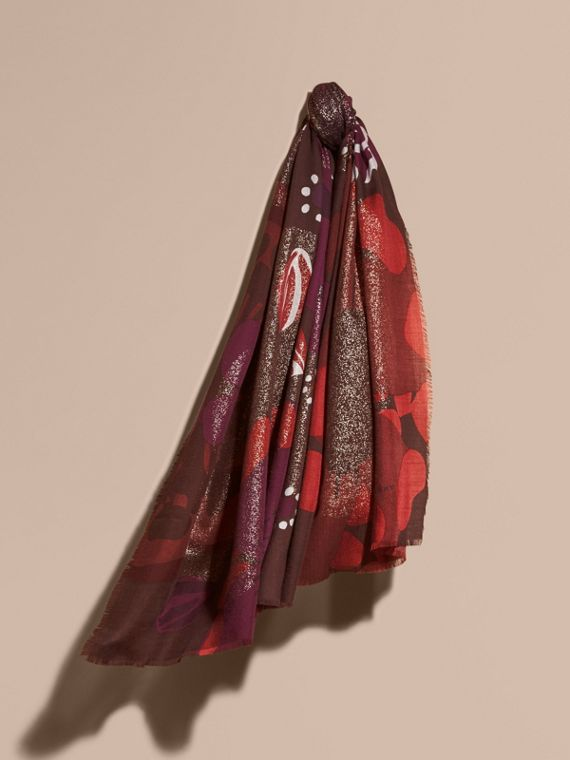 Floral and Gold Foil Lightweight Cashmere Scarf Deep Burgundy