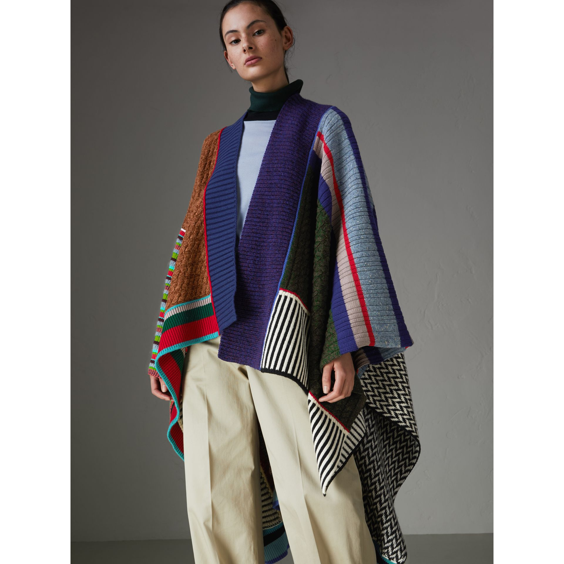 Wool Cashmere Blend Patchwork Poncho in Multicolour - Women | Burberry - gallery image 4