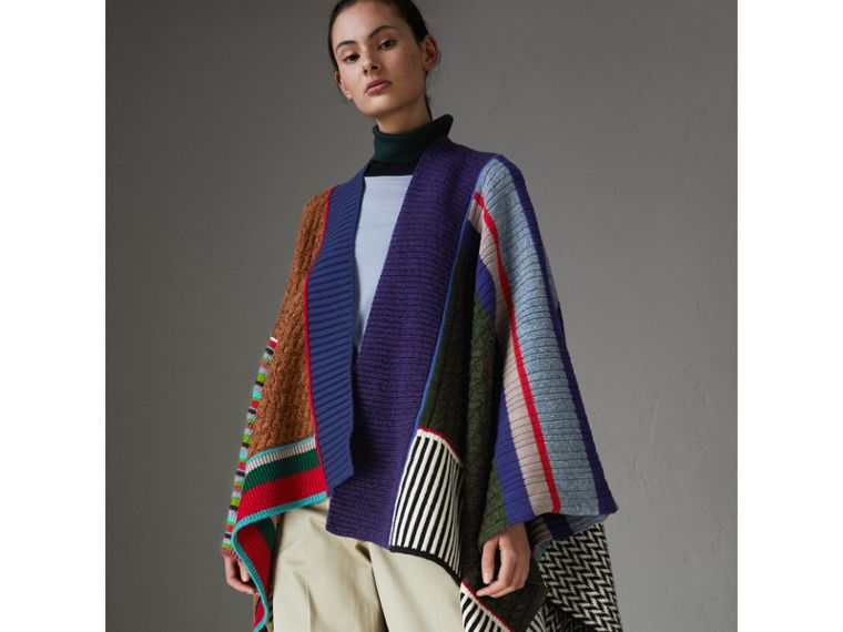Wool Cashmere Blend Patchwork Poncho in Multicolour - Women | Burberry - cell image 4