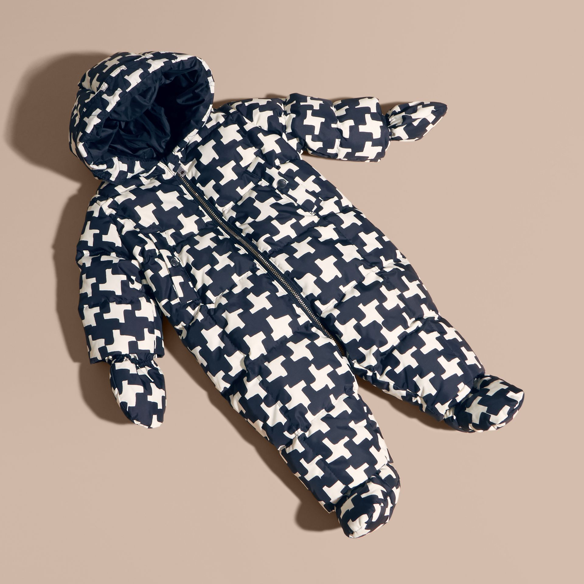 Natural white Houndstooth Print Down-filled Puffer Suit - gallery image 1