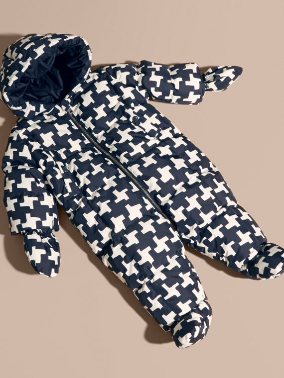 Houndstooth Print Down-filled Puffer Suit