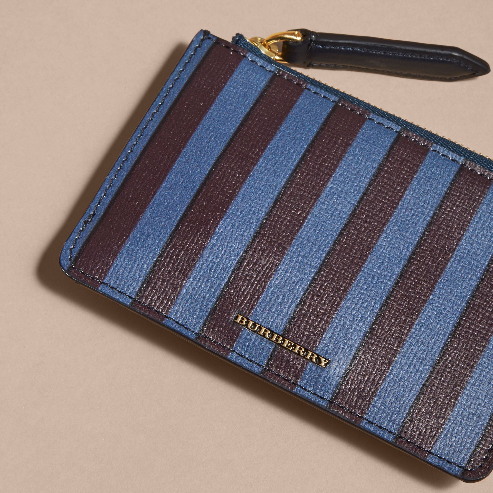 Navy Pyjama Stripe London Leather Zip-top Wallet - gallery image 3