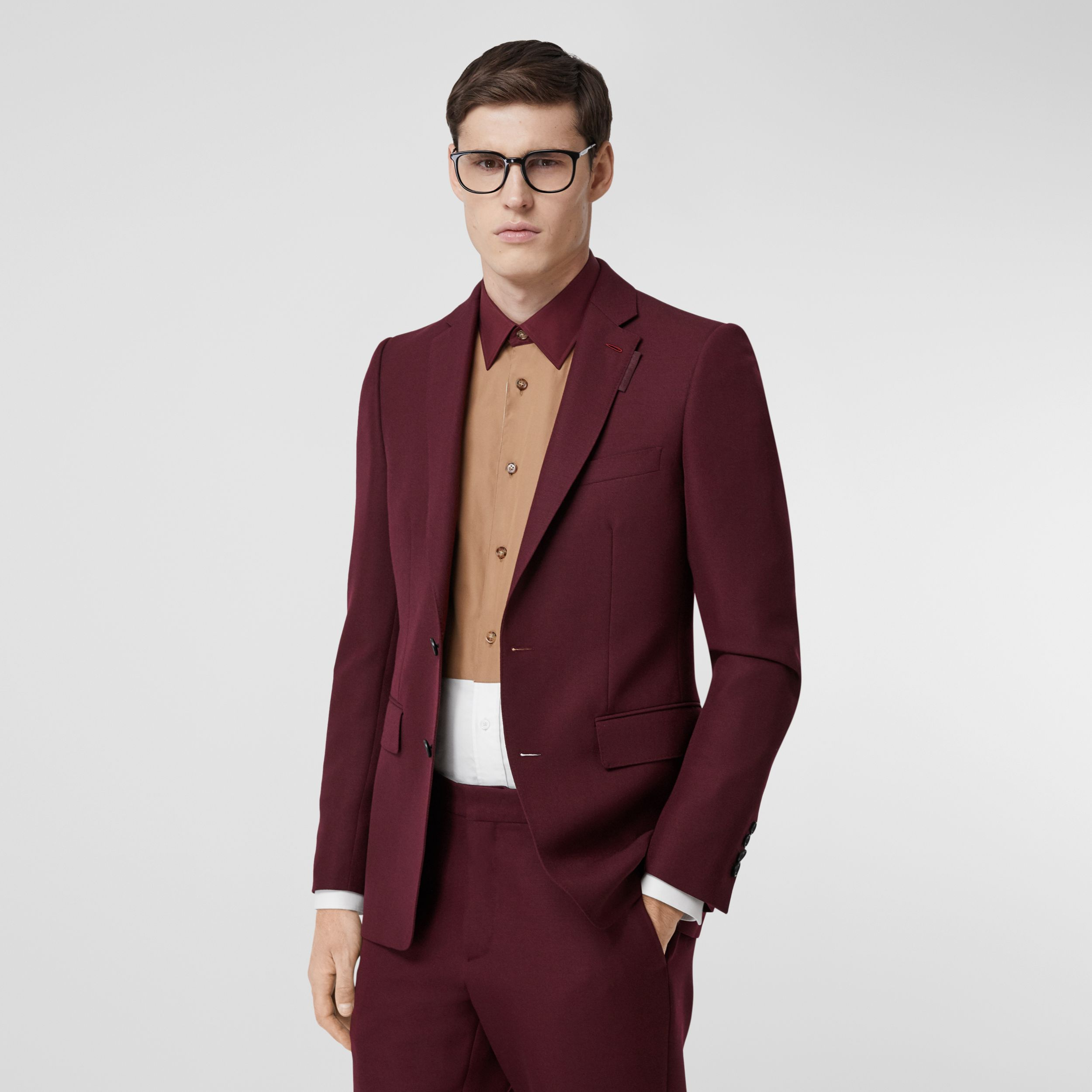 English Fit Wool Mohair Tailored Jacket in Deep Burgundy - Men | Burberry - 1