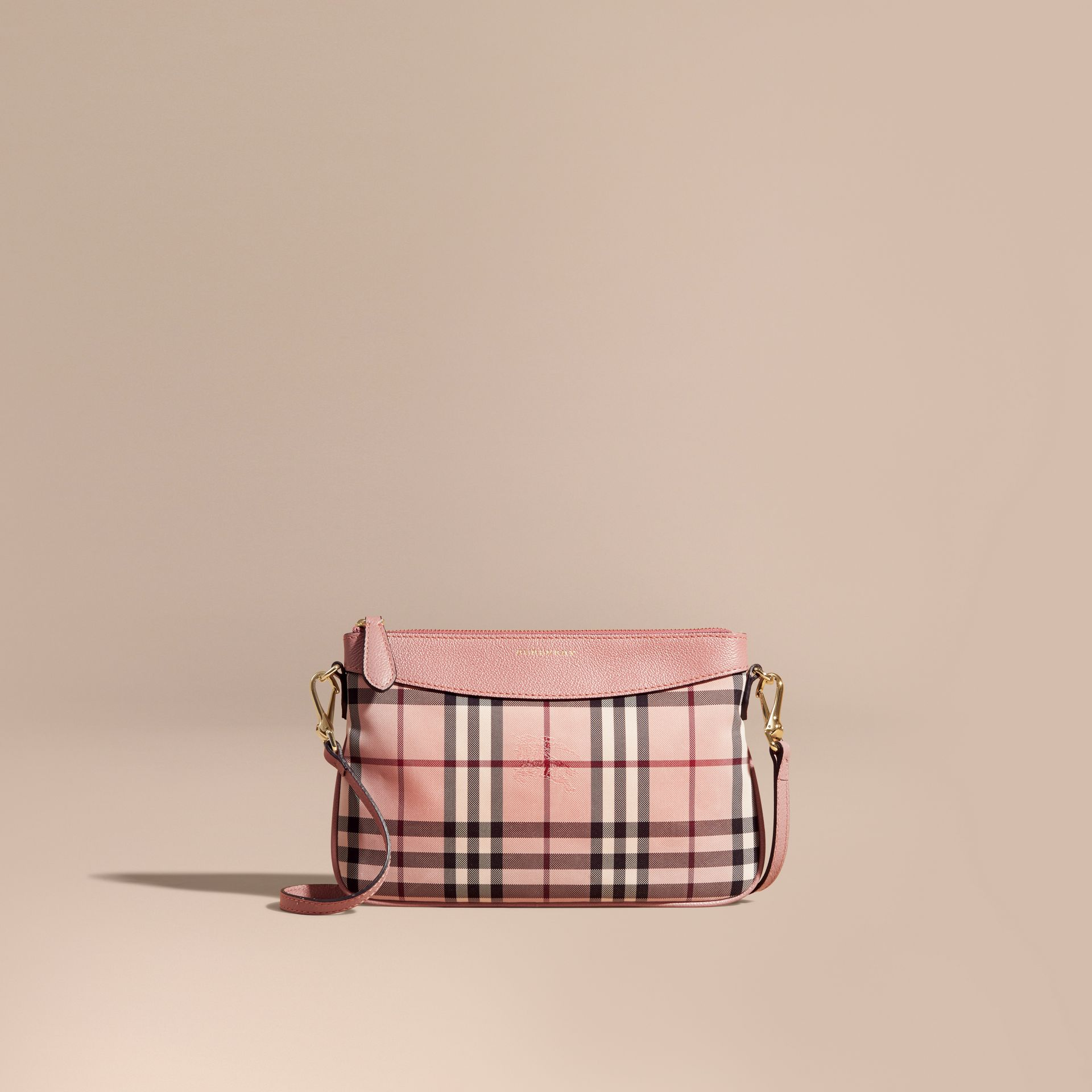 Horseferry Check and Leather Clutch Bag - gallery image 9
