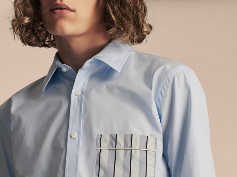 Pale sky blue Cotton Poplin Shirt with Pyjama Stripe Pocket - cell image 4