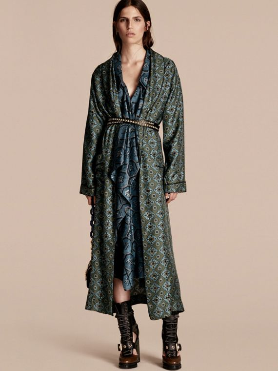 Geometric Tile Print Silk Twill Dressing Gown Coat