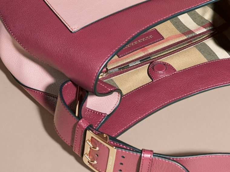 Textured Leather Shoulder Bag in Dark Plum/ Dusty Pink - cell image 4