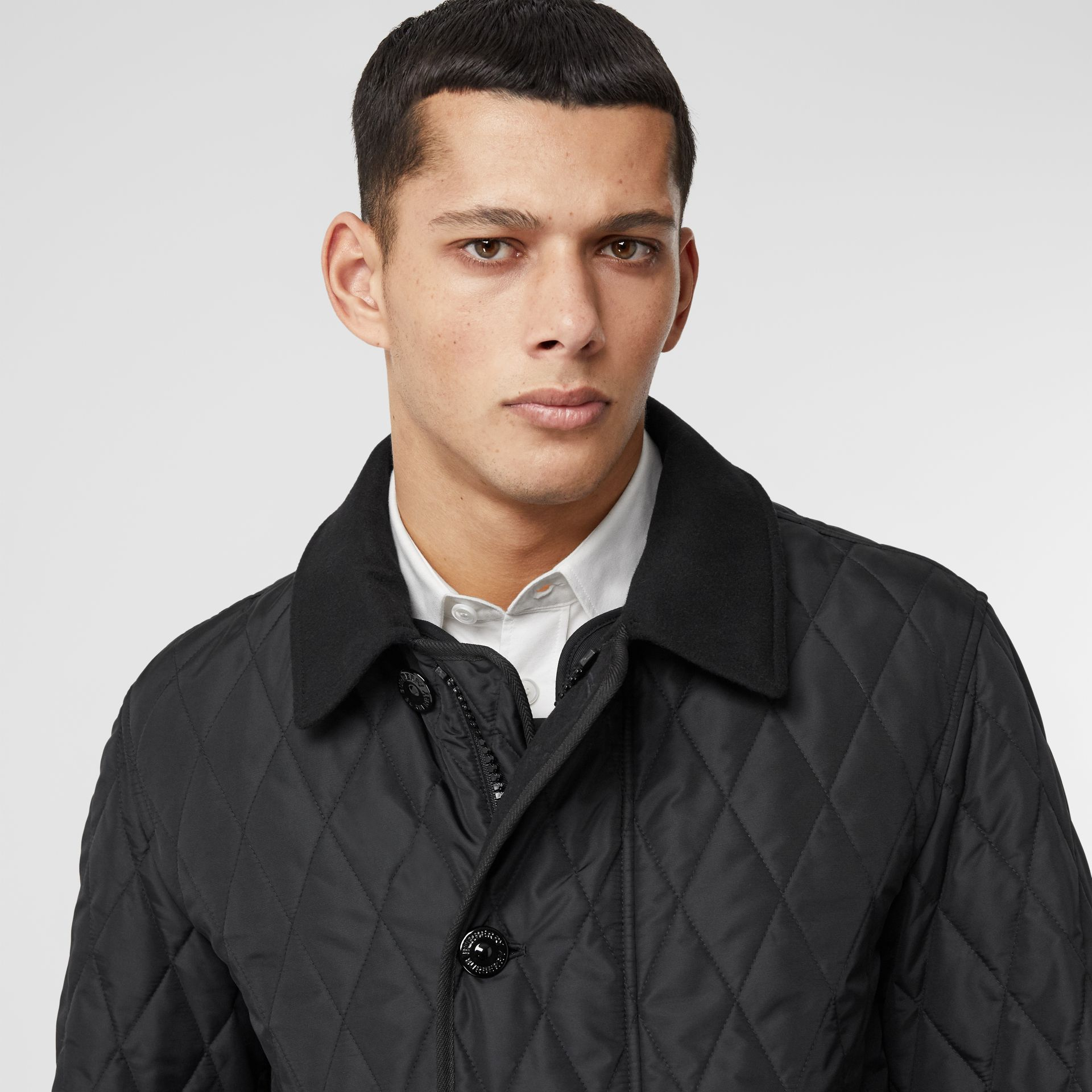 Diamond Quilted Jacket with Warmer in Black - Men | Burberry United Kingdom - gallery image 1