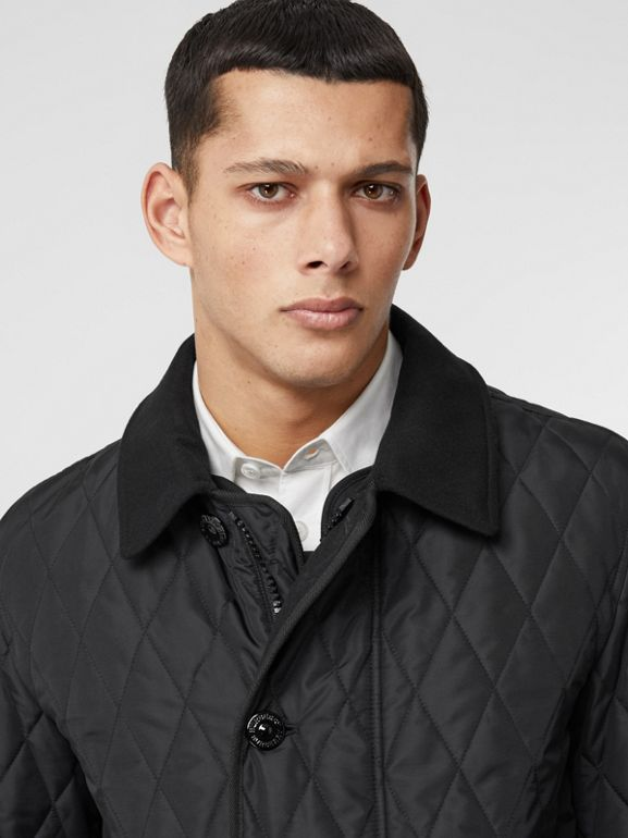 Diamond Quilted Jacket with Warmer in Black - Men | Burberry United Kingdom - cell image 1