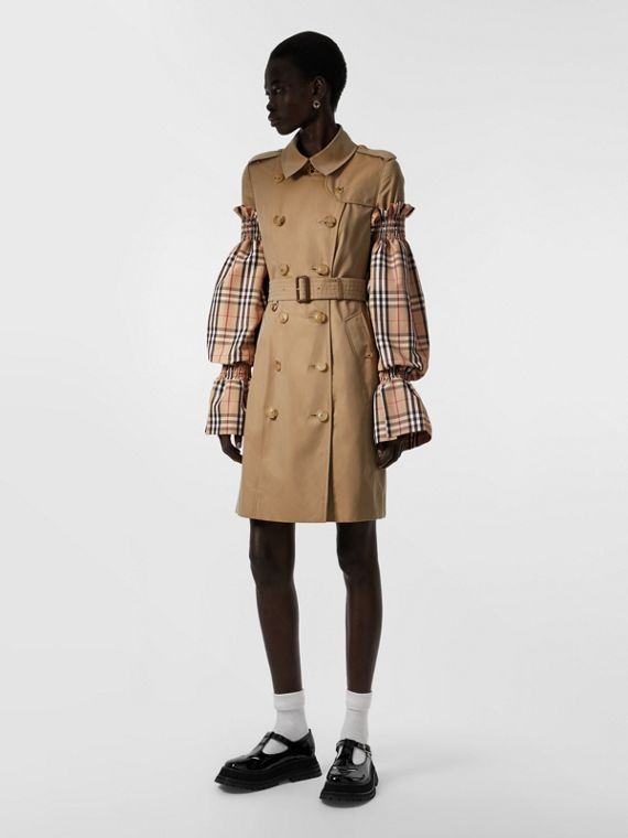 Vintage Check Puff Sleeves in Archive Beige