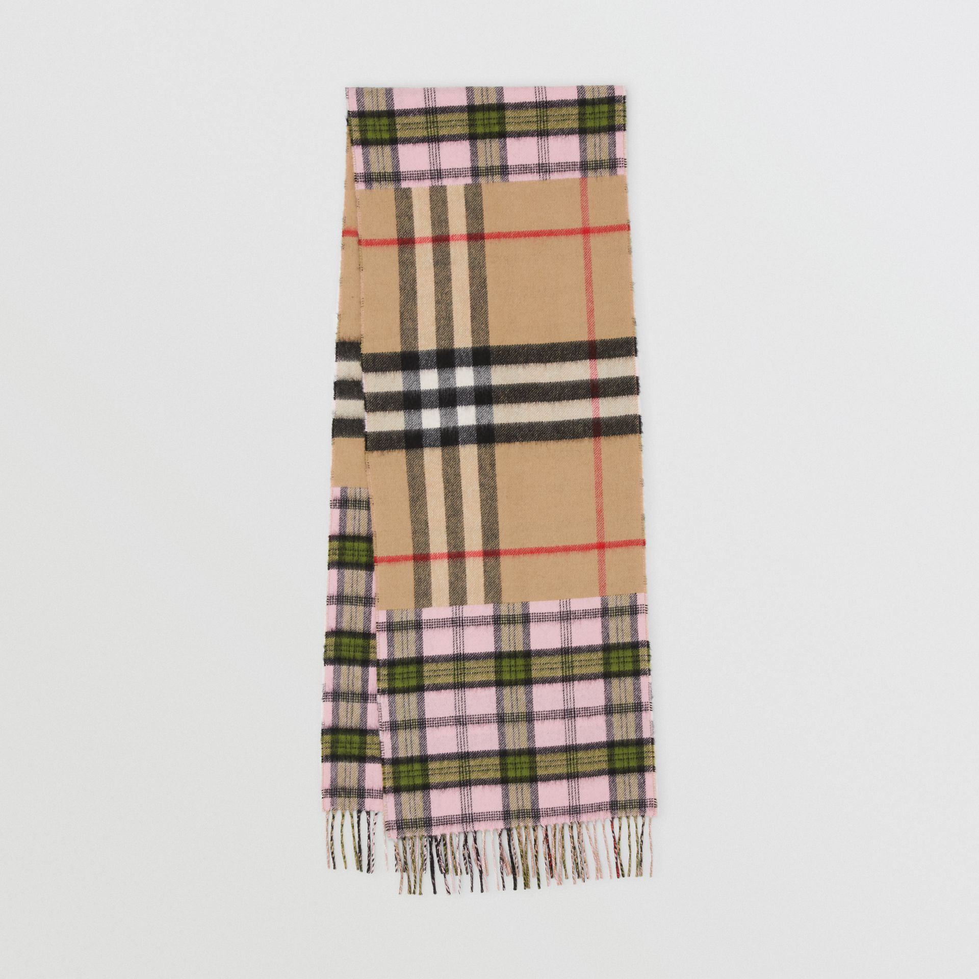 Contrast Check Cashmere Merino Wool Jacquard Scarf in Candy Pink | Burberry United States - gallery image 0