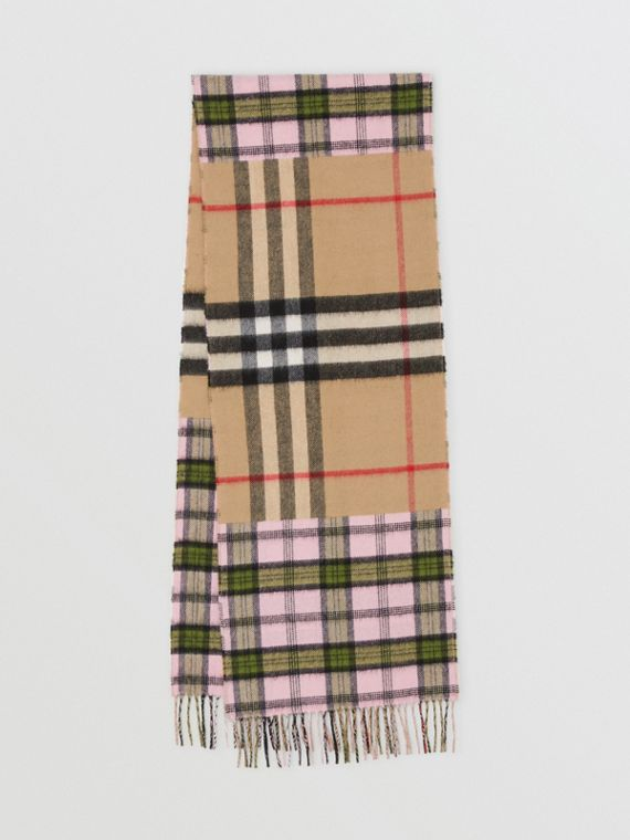Contrast Check Cashmere Merino Wool Jacquard Scarf in Candy Pink