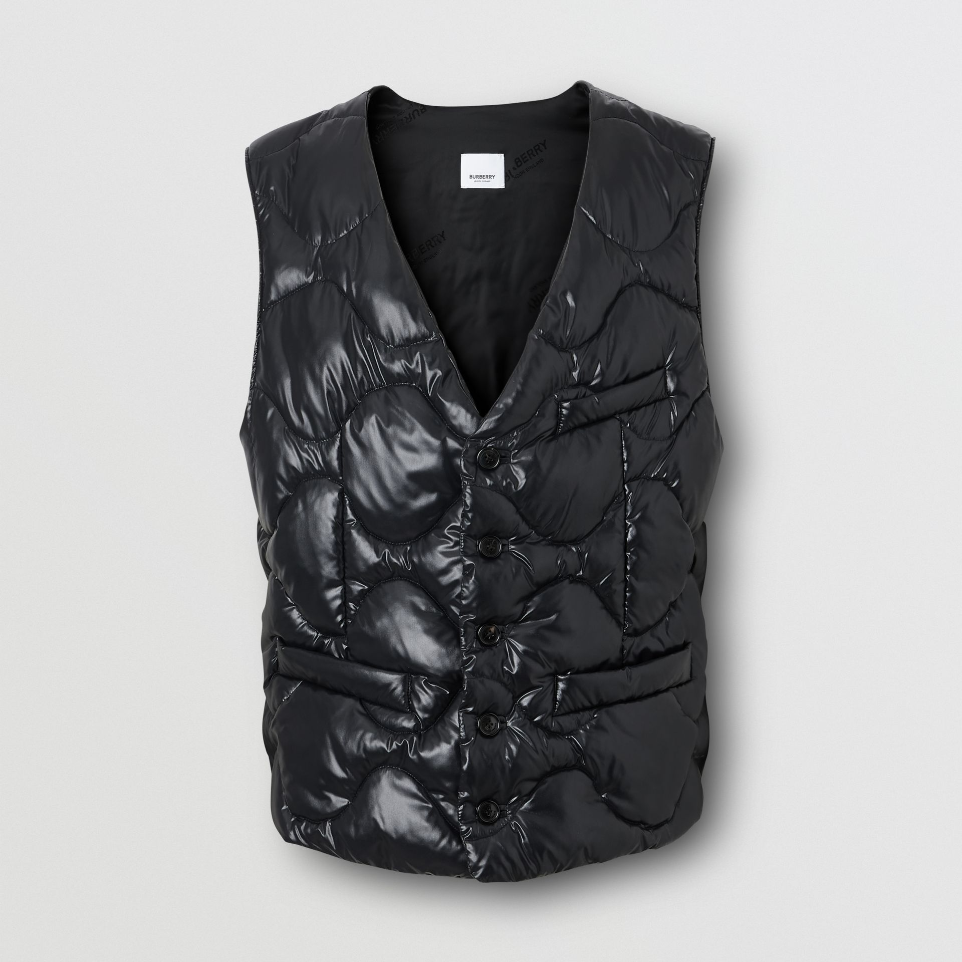 Nylon Puffer Waistcoat in Black - Men | Burberry United States - gallery image 3