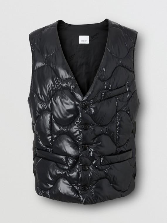 Nylon Puffer Waistcoat in Black