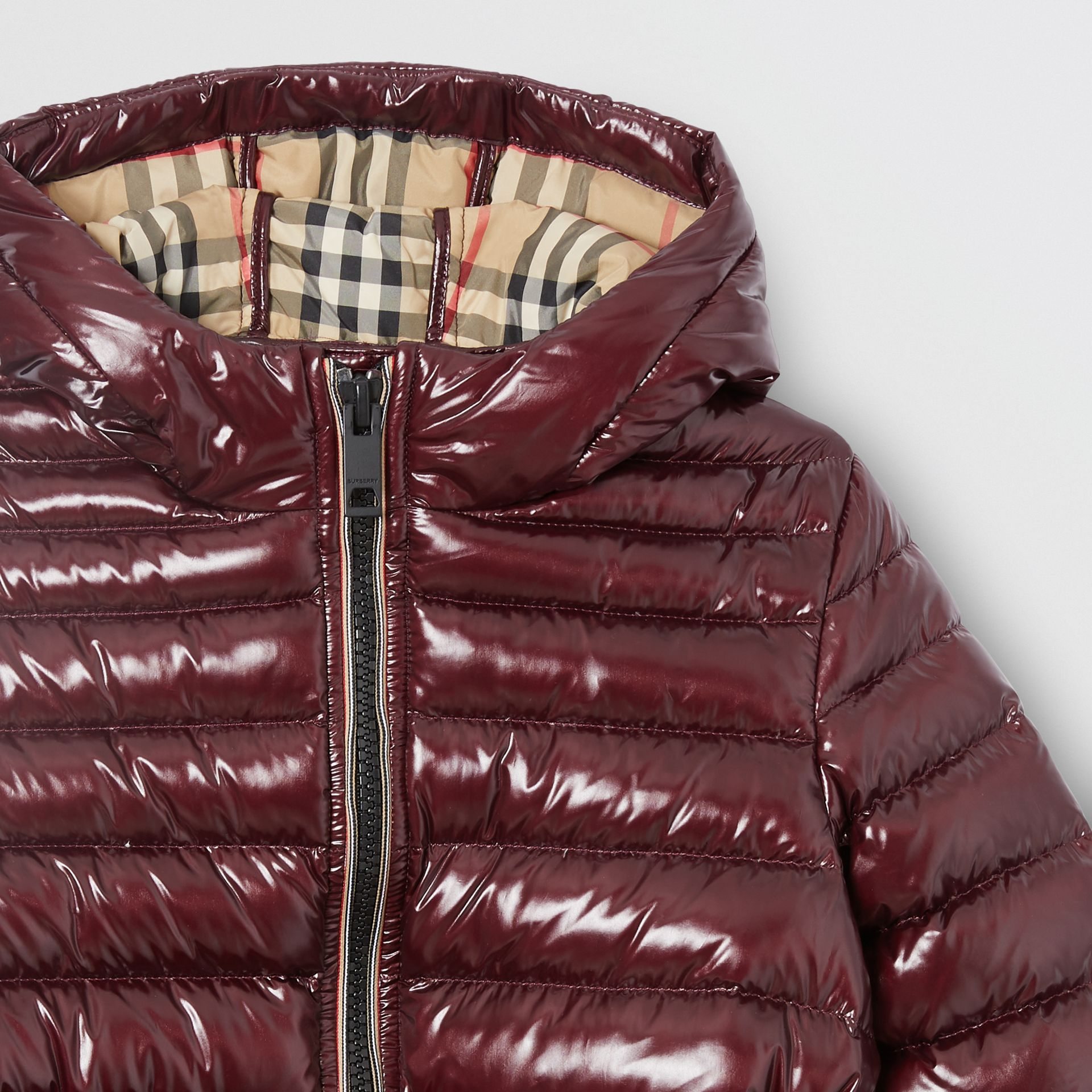 Icon Stripe Detail Down-filled Hooded Puffer Coat in Burgundy | Burberry Australia - gallery image 4