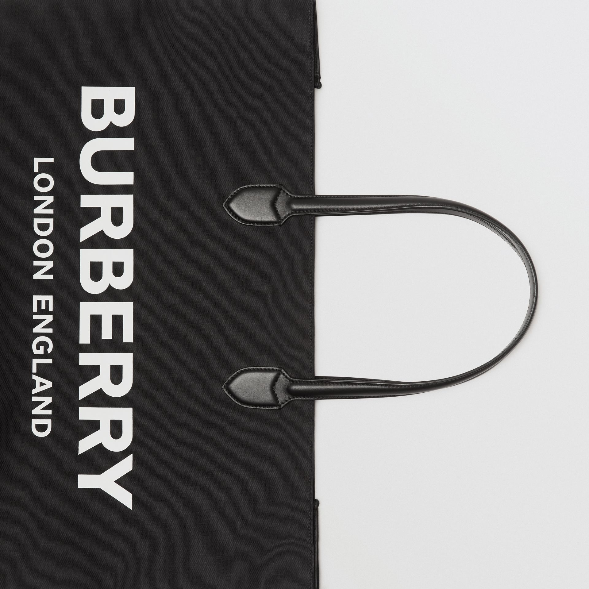 Logo Detail Cotton Blend Tote in Black | Burberry United Kingdom - gallery image 1
