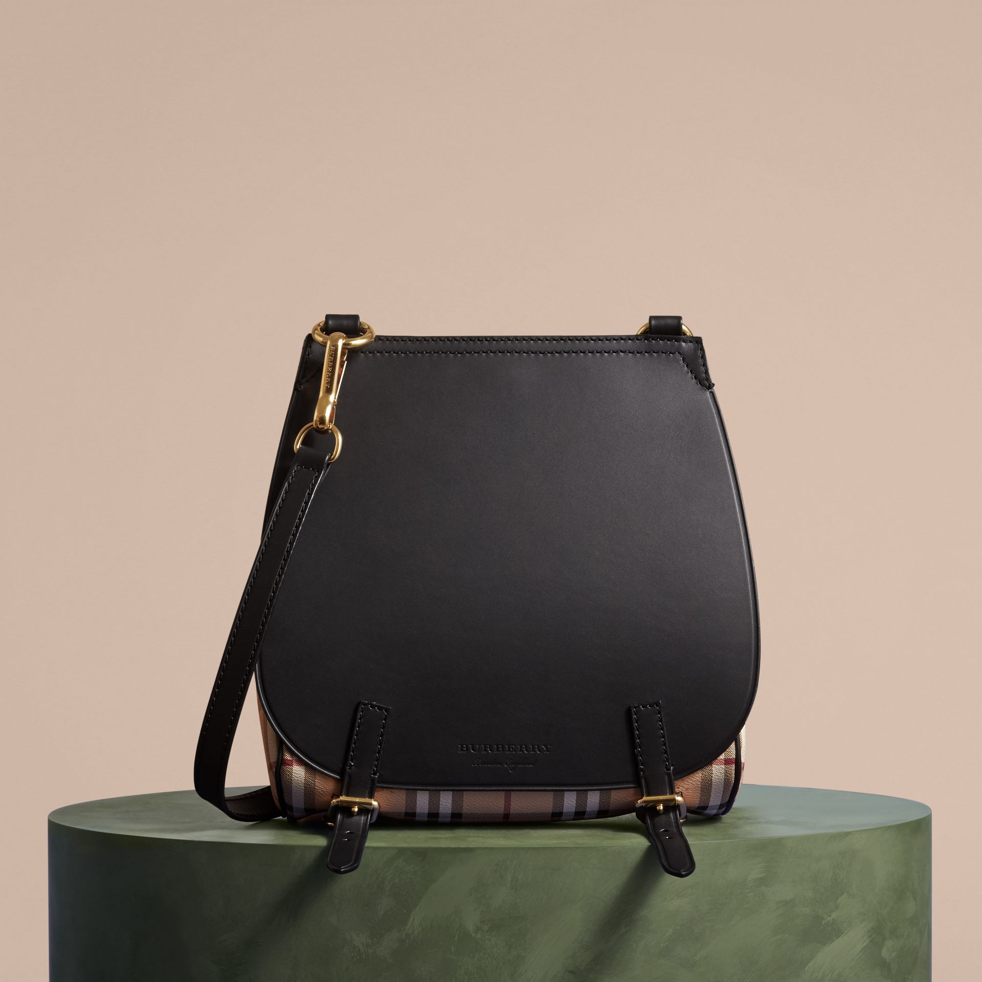 The Small Bridle Bag in Leather and Haymarket Check Black - gallery image 8