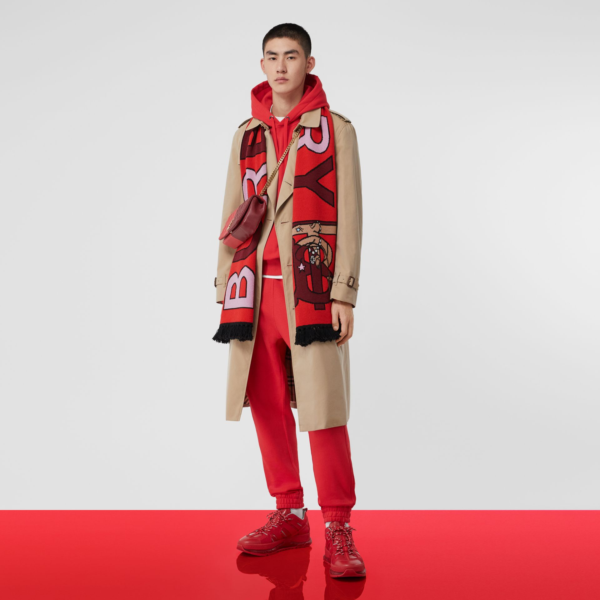Logo and Monogram Motif Intarsia Cashmere Scarf in Bright Red | Burberry United States - gallery image 8