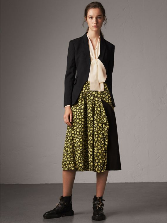Zip Detail Floral Silk Draped Skirt in Pale Saffron Yellow
