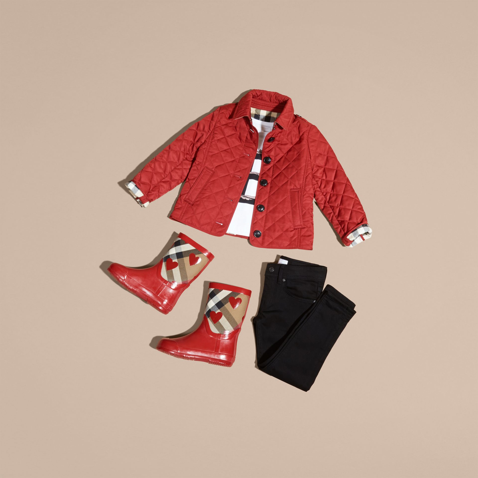 Check Lined Diamond Quilted Jacket in Parade Red - Girl | Burberry - gallery image 5