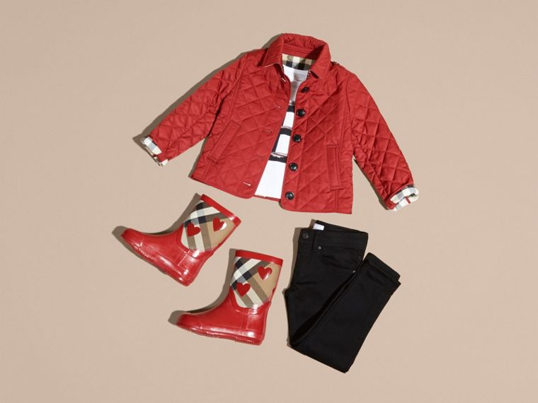 Check Lined Diamond Quilted Jacket in Parade Red - Girl | Burberry - cell image 4