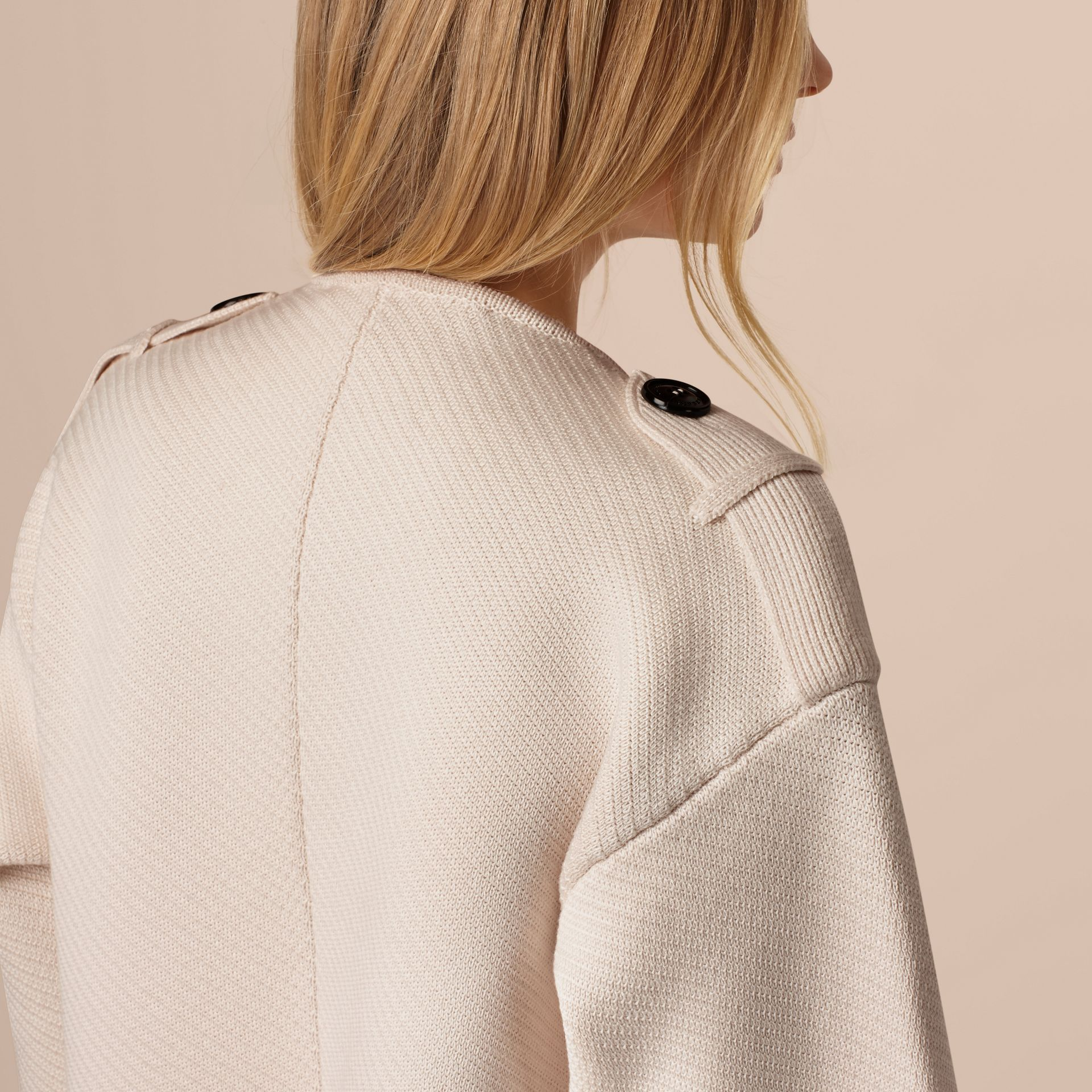 Natural white Knitted Silk Wool Cashmere Blend Jacket - gallery image 5