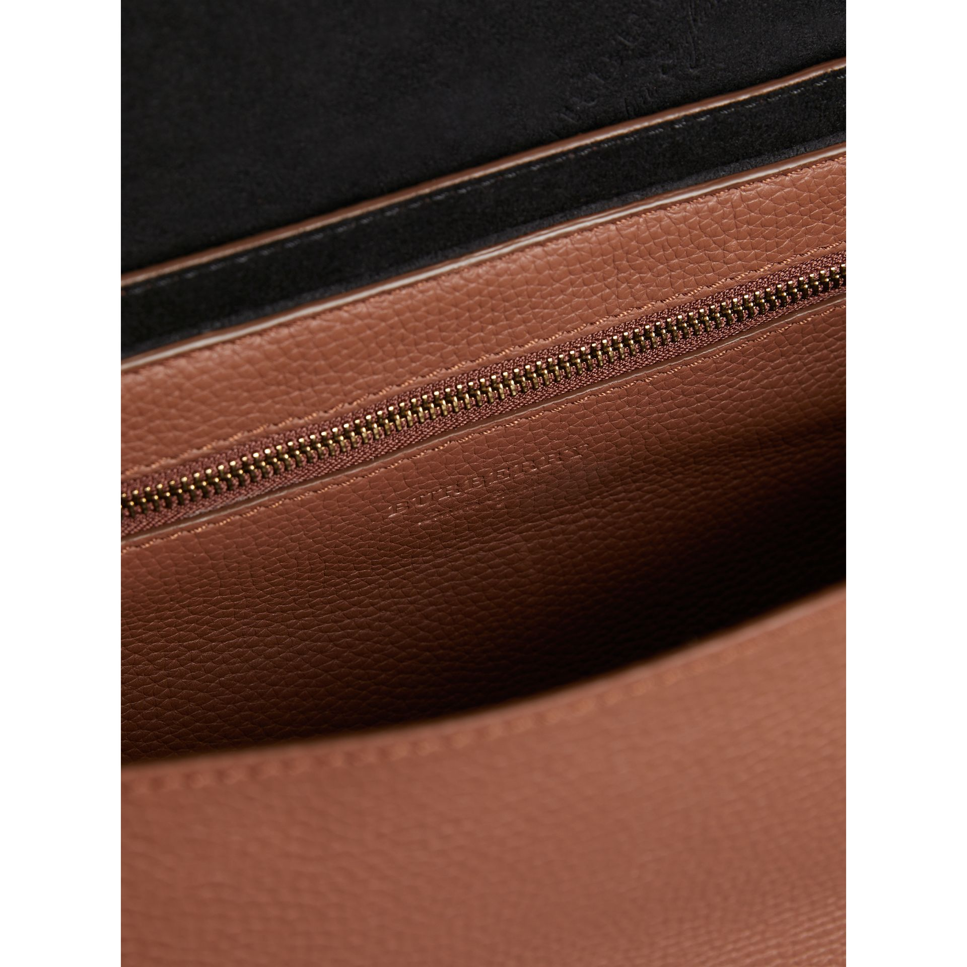 Large Embossed Leather Messenger Bag in Chestnut Brown | Burberry - gallery image 4