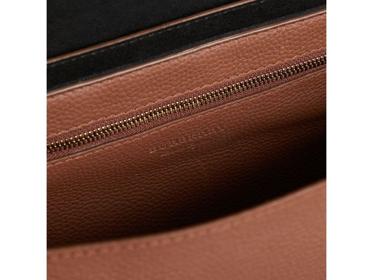Large Embossed Leather Messenger Bag in Chestnut Brown | Burberry - cell image 4