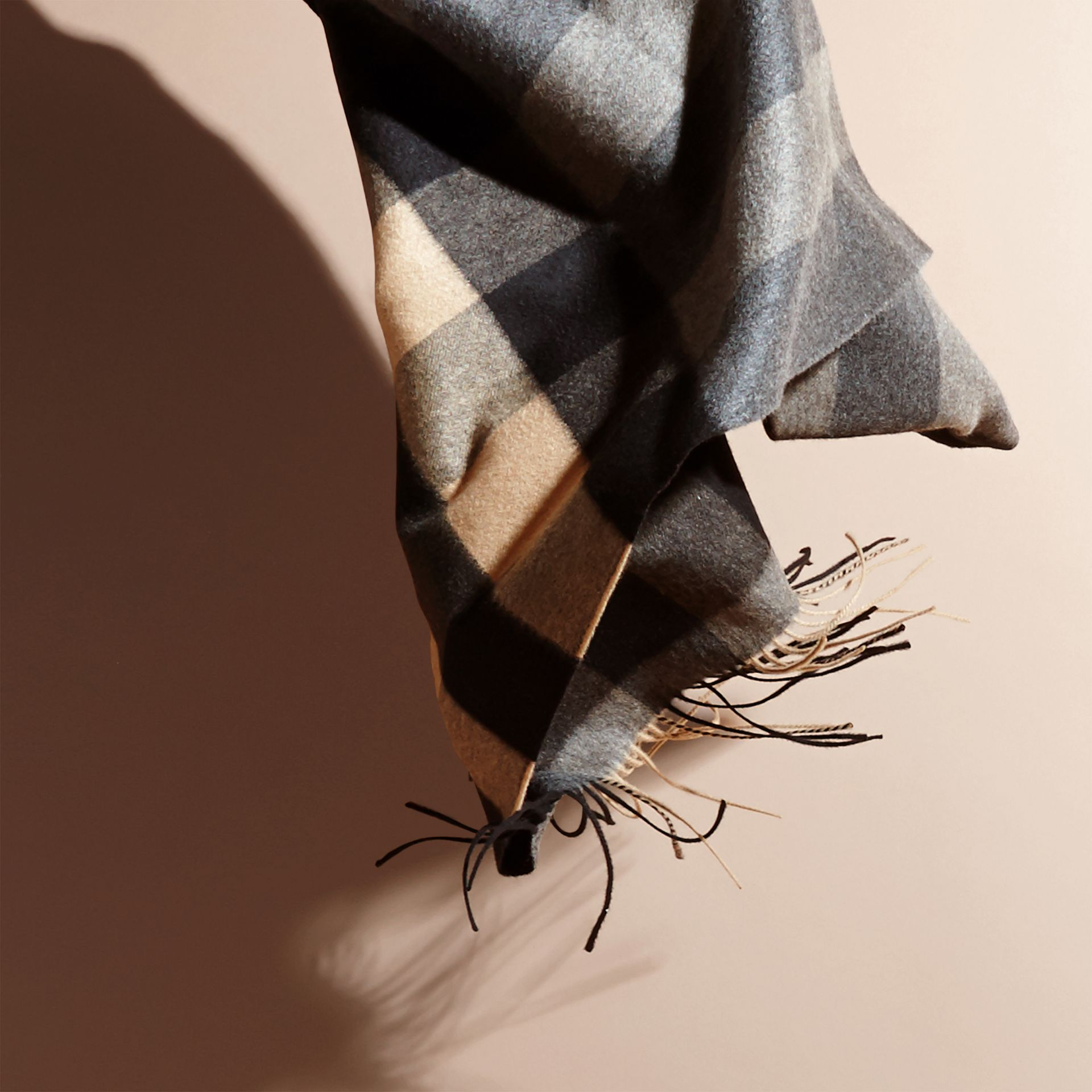 Mid grey/camel Oversize Check Cashmere Scarf Mid Grey/camel - gallery image 5