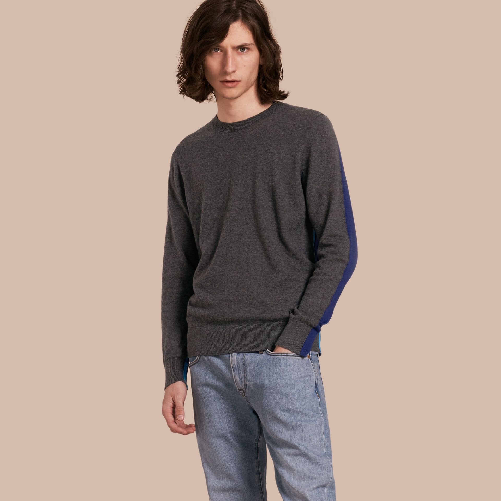 Dark grey melange Colour Block Cashmere Cotton Sweater - gallery image 1