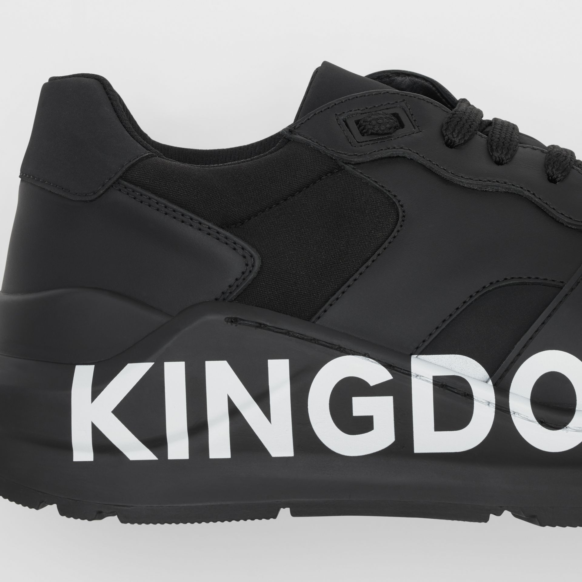 Kingdom Print Neoprene and Leather Sneakers in Black - Men | Burberry United States - gallery image 1