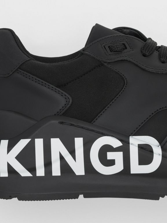 Kingdom Print Neoprene and Leather Sneakers in Black - Men | Burberry United States - cell image 1