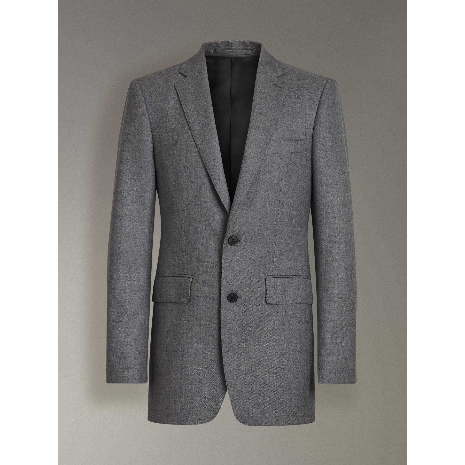 Modern Fit Sharkskin Wool Suit in Mid Grey Melange - Men | Burberry - gallery image 3