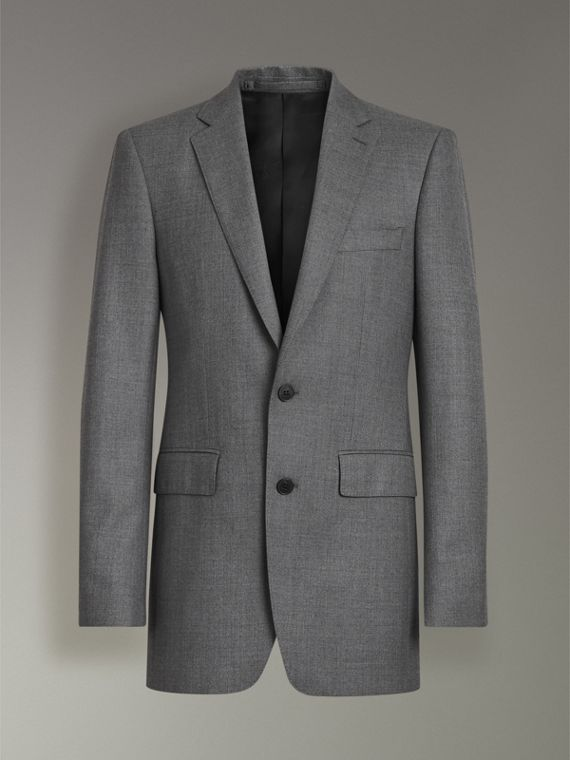 Modern Fit Sharkskin Wool Suit in Mid Grey Melange - Men | Burberry - cell image 3