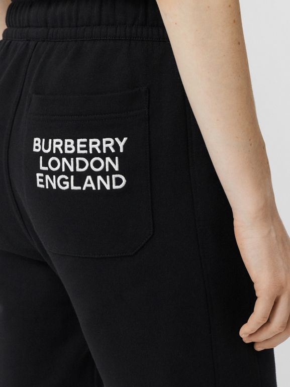 Embroidered Logo Cotton Trackpants in Black - Women | Burberry - cell image 1