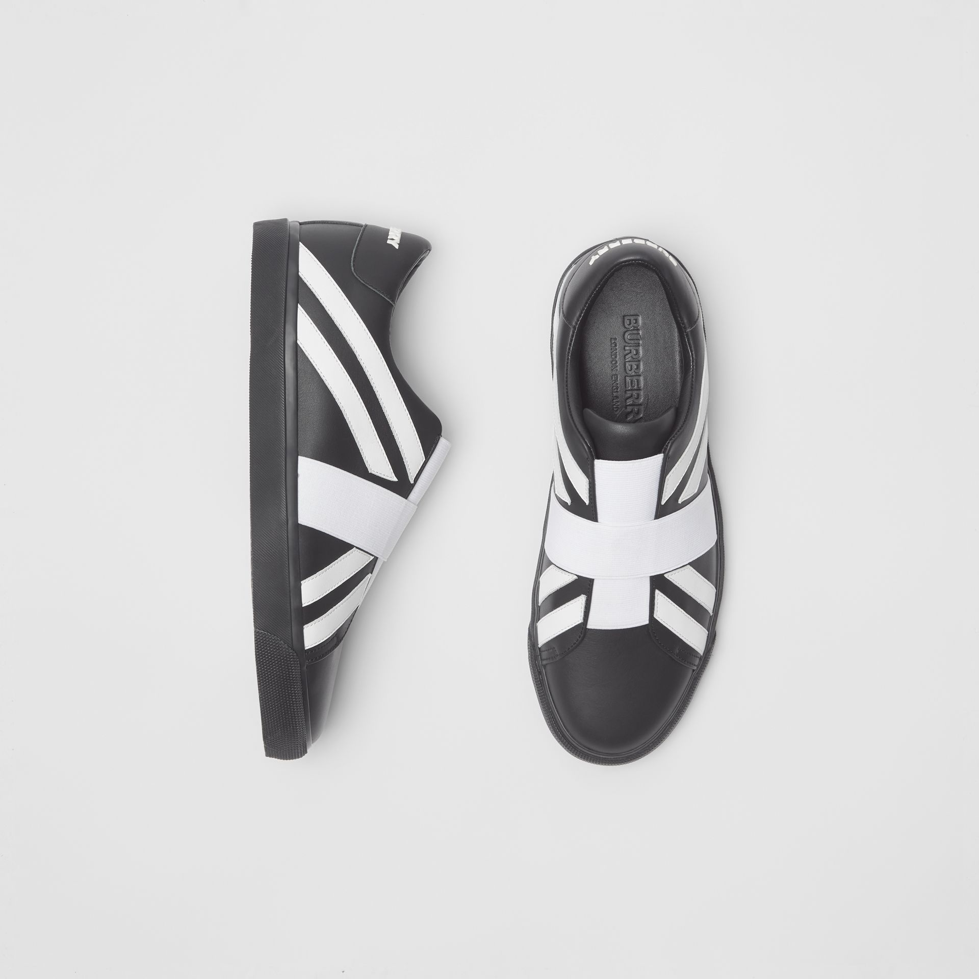 Union Jack Motif Slip-on Sneakers in Black - Men | Burberry - gallery image 0