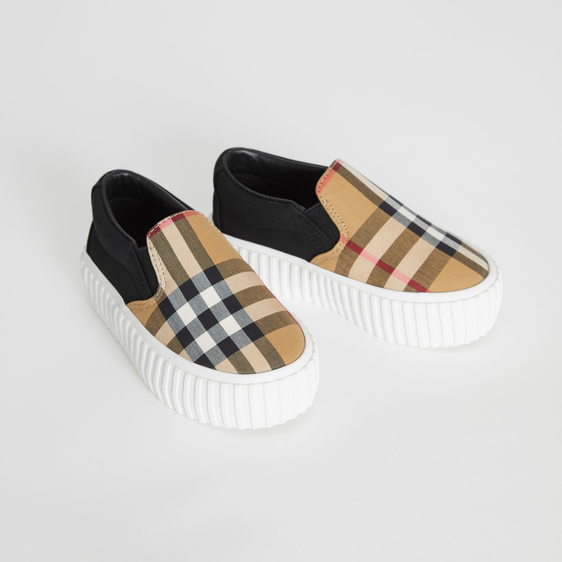 Vintage Check Detail Cotton Slip-on Sneakers in Black/antique Yellow - Children | Burberry - gallery image 1