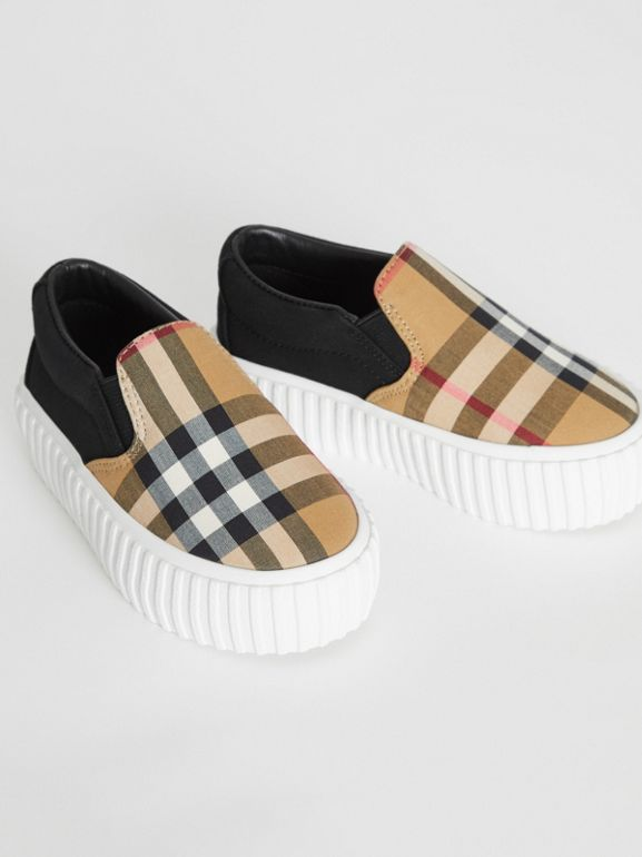 Vintage Check Detail Cotton Slip-on Sneakers in Black/antique Yellow - Children | Burberry - cell image 1