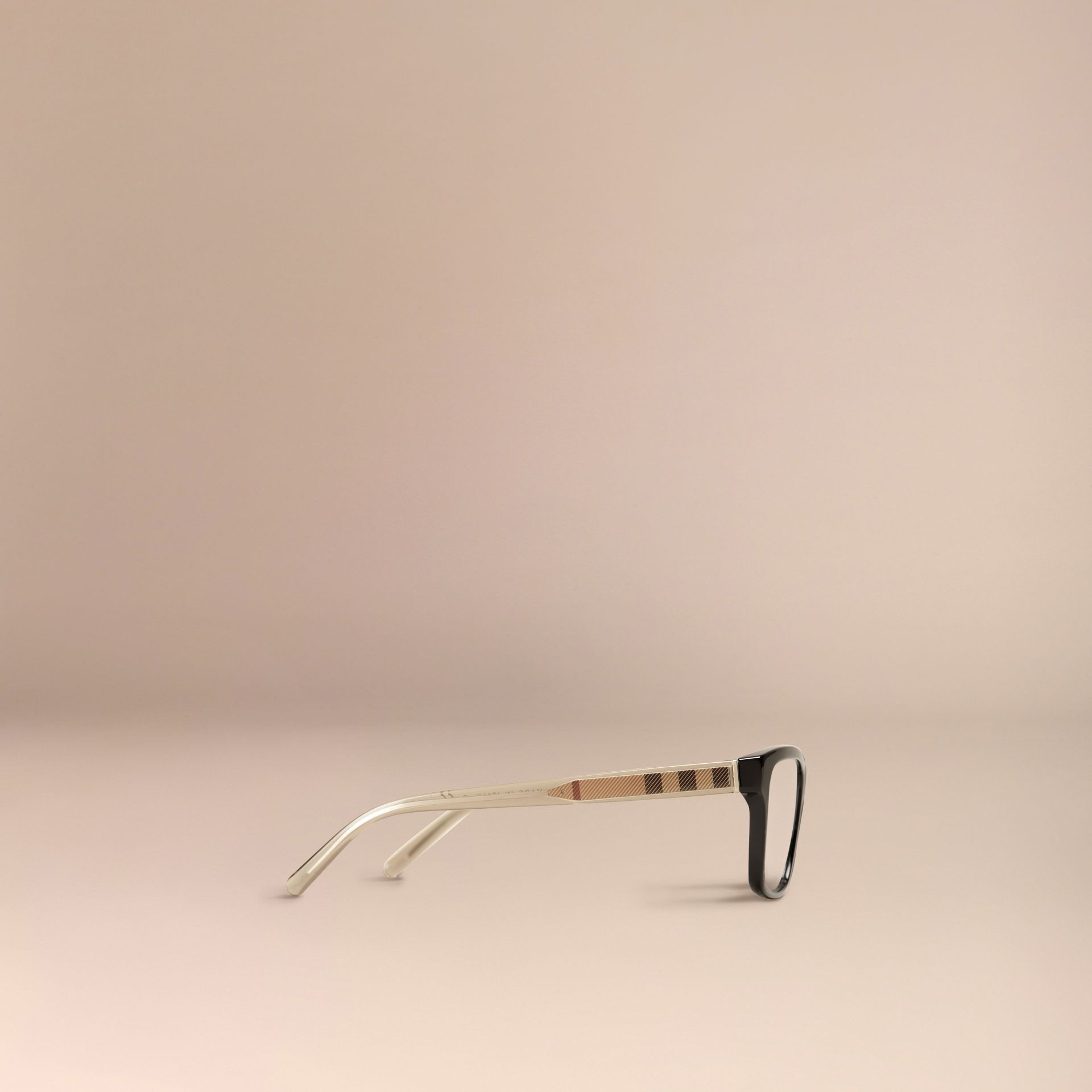 Black Check Detail Rectangular Optical Frames Black - gallery image 4