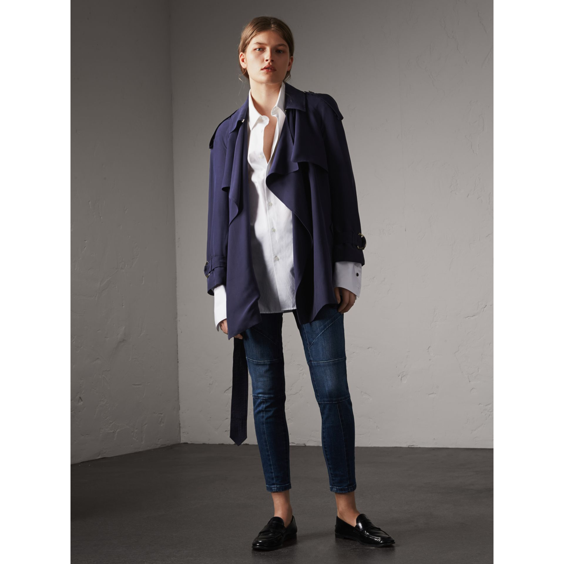 Silk Wrap Trench Coat in Navy - gallery image 1