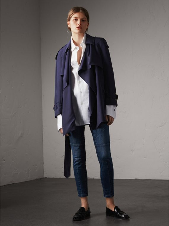 Silk Wrap Trench Coat in Navy