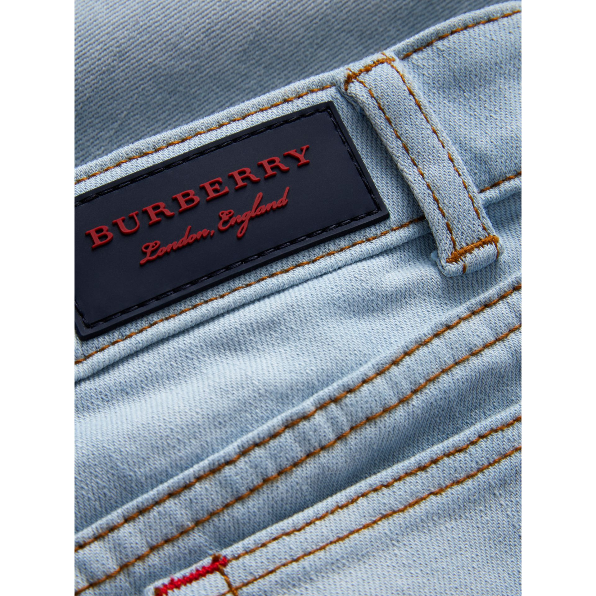 Relaxed Fit Stretch Denim Jeans in Light Blue - Boy | Burberry Singapore - gallery image 1