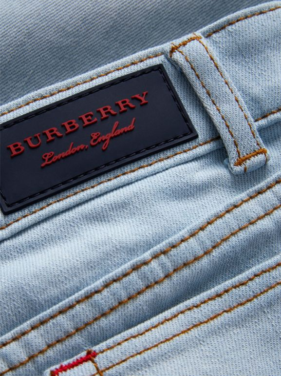 Relaxed Fit Stretch Denim Jeans in Light Blue - Boy | Burberry Hong Kong - cell image 1