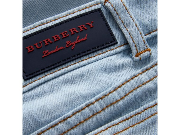 Relaxed Fit Stretch Denim Jeans in Light Blue - Boy | Burberry - cell image 1