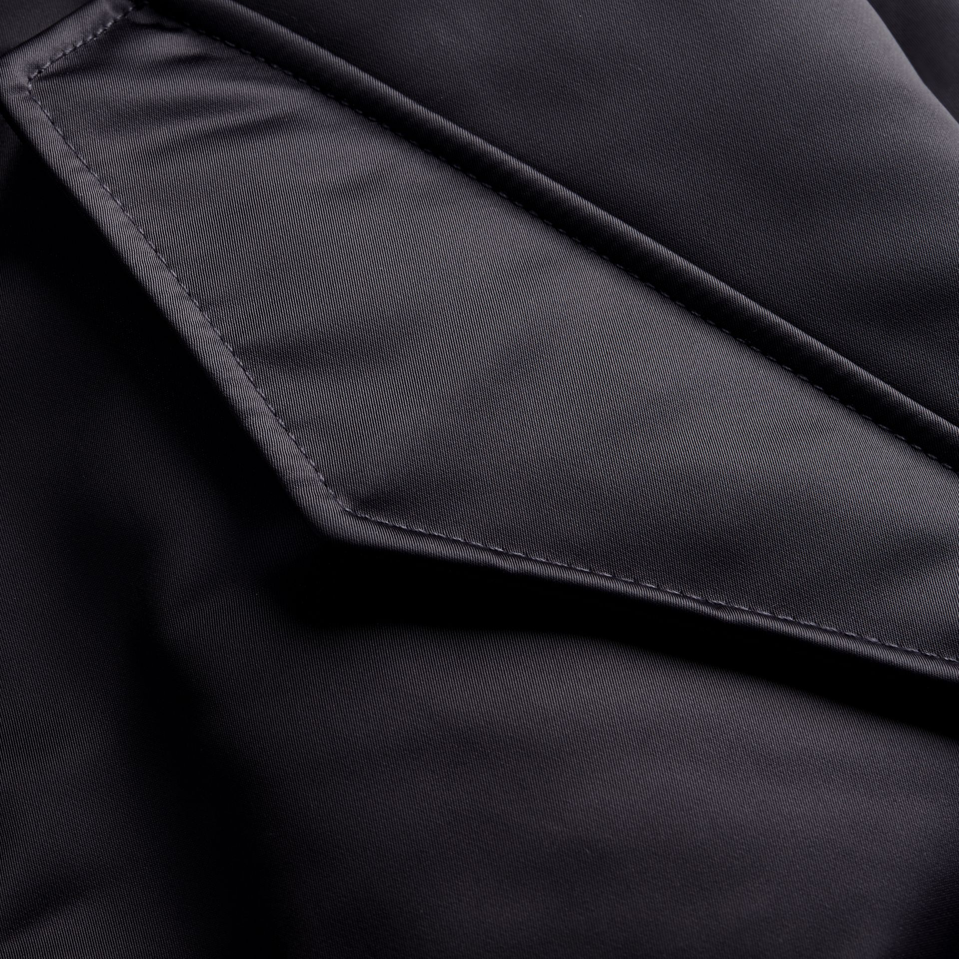 Graphite Long-line Satin Bomber Jacket with Fur-trimmed Hood Graphite - gallery image 2