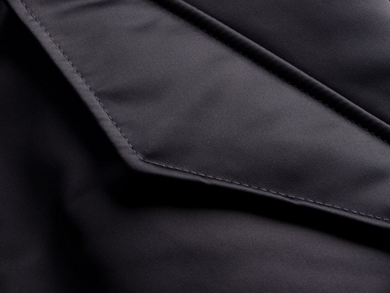 Graphite Long-line Satin Bomber Jacket with Fur-trimmed Hood Graphite - cell image 1