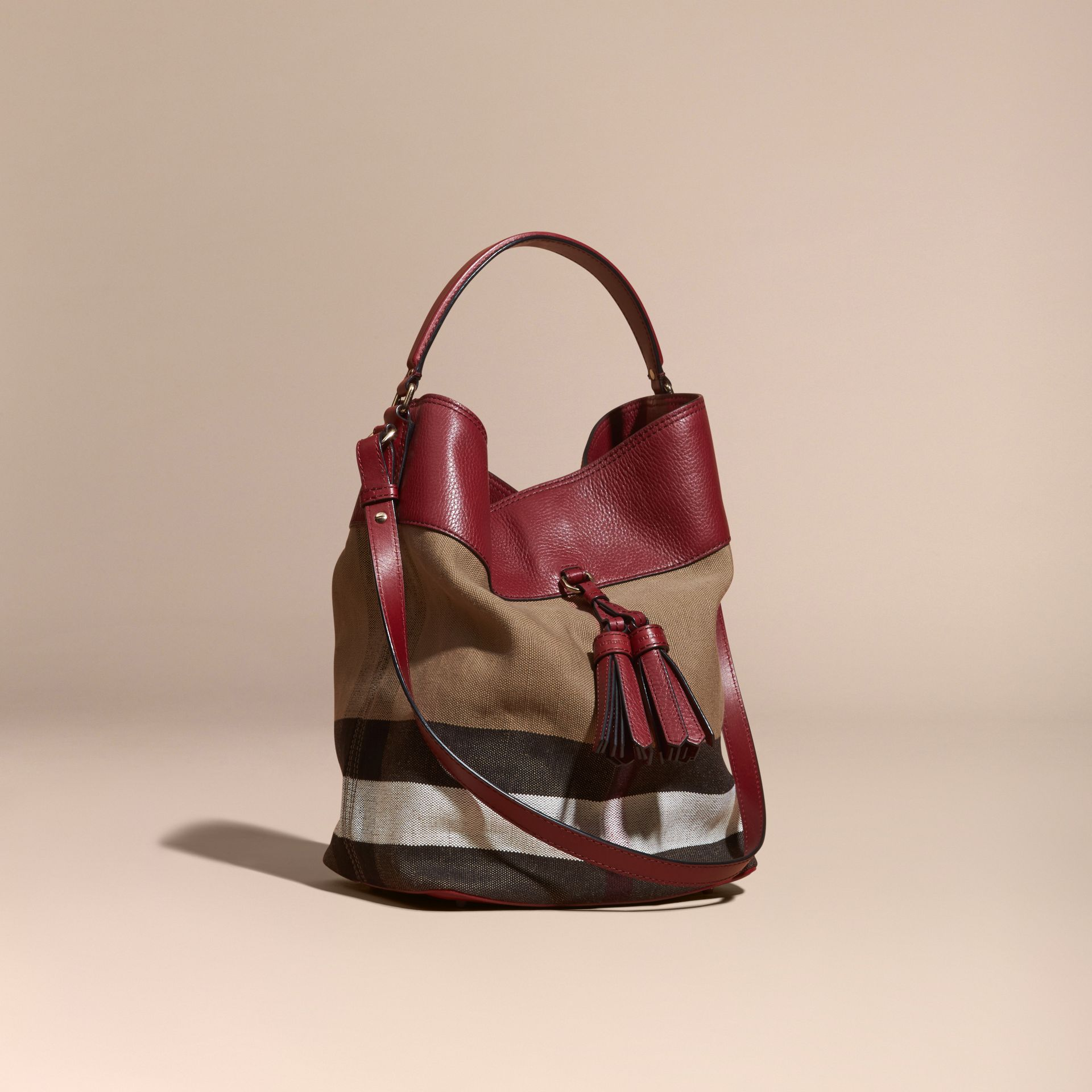Burgundy red The Medium Ashby in Canvas Check and Leather Burgundy Red - gallery image 1