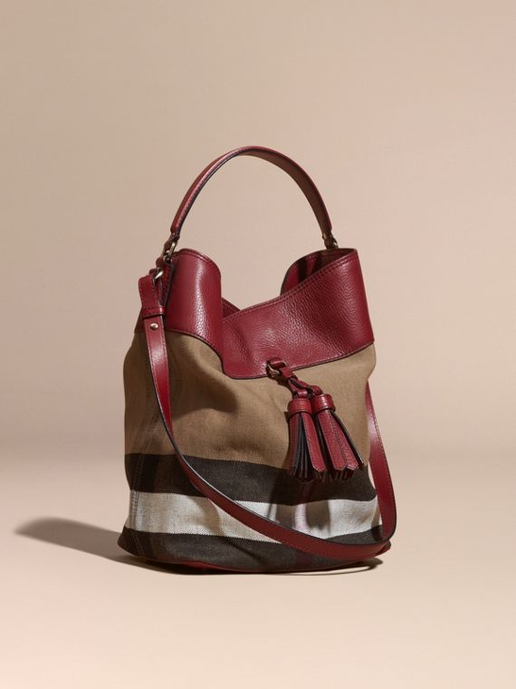 Sac The Ashby medium en toile Canvas check et cuir Rouge Bourgogne